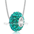 Latest Design Beads Necklace Peridot Crystal Paved European Big Hole Bead Charms