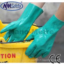 NMSAFETY EN374 Épaisseur 15mil longueur 33cm gants de nitrile industriels flocklined / gant de travail