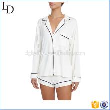 Gola redonda entalhe mulheres pijama terno de cetim com pipping dois conjuntos de pcs