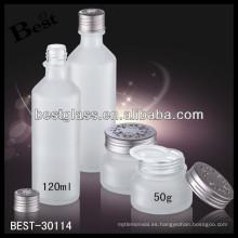Frascos de vidrio 50g con tapa de aluminio, frasco cosmético de vidrio en stock, frasco de cuidado personal cara cuidado de la cara
