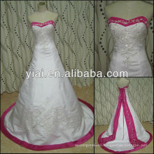 JJ2775 Beaded White and Hot pink Embroidery Wedding Gown