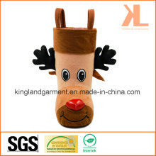 Polyester High Quality Christmas Decoration Reindeer Style Brown Candy Boot