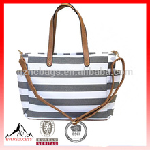 Extra large full color custom printing cotton canvas tote bag, gray stripe tote bag