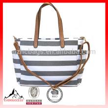 Очень большой полного цвета изготовленное на заказ печатание холстины хлопка сумка, серый в полоску сумка
