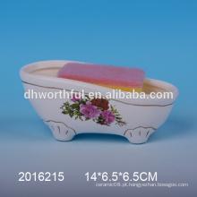 Suporte de esponja de cerâmica com decalque branco