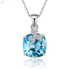 Chaîne en argent 925 de haute qualité collier pendentif en cristal bleu