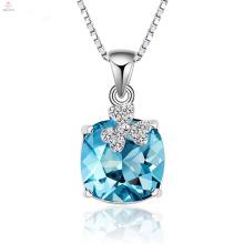 Высокое Качество 925 Серебряная Цепочка Синий Кристалл Ожерелье Кулон