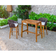 Exclusive Classy Design Poly Rattan Wooden Frame Bar Set For Outdoor Garden Patio Wicker Furniture