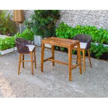 Exclusive Classy Design Poly Rattan Wooden Frame Bar Set For Outdoor Garden Patio Wicker Furniture