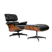 Aniline Leather Eames chaise longue et pouf Replica