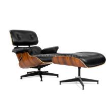 Aniline Leather Eames chaise longue et pouf Replica