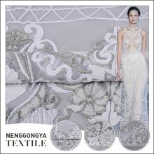Última chegada poliéster allover plana bordado tecido de renda para noivas