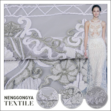Dernières arrivée polyester allover plat brodé dentelle tissu pour la mariée