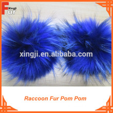 Beanie Hats / With press stud / Raccoon Fur Pom Pom