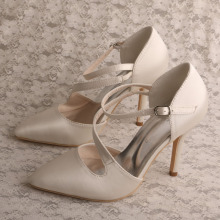 Ivory+Satin+Black+Pointed+High+Heel+Wedding+Party+Shoes