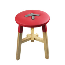 deep red wood stools