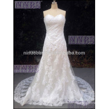 Sweetheart Strapless Lace Appliques Beaded Slight Mermaid Chapel Train Bandage Wedding Dress
