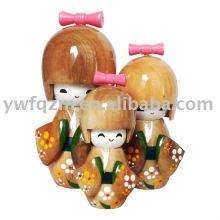 Artesanato de madeira personalizado 3d boneca para venda