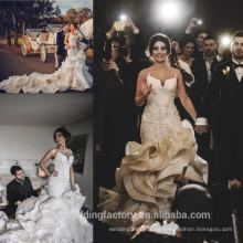 Catedral tren vestidos de novia Capilla tren volantes baratos vestidos de novia por encargo vestido de novia de sirena CWF2424