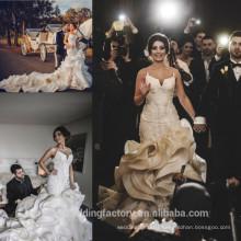 Cathedral Train Wedding Dresses Chapel Train Ruffles Cheap Bridal Gowns Custom Made Mermaid Bridal Gown CWF2424