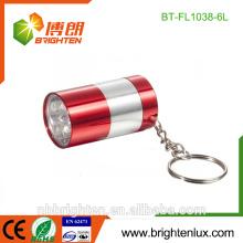 Vente chaude Prix bon marché Petit sac en aluminium Matériel cadeau coloré 6 Led Porte-clés Fabriqué sur mesure à la batterie de mini lumières LED