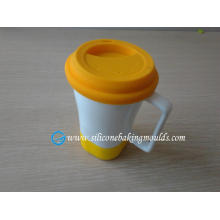 Double Wall Ceramic Mug With Silicone Lid And Holder , Custom Silicone Products