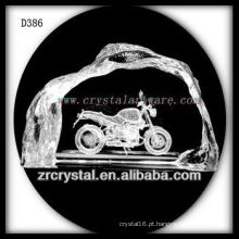 Motocicleta do subsolo de K9 3D Laser dentro do iceberg de cristal