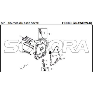 E07 CRANK DIREITO TAMPA DO CASO FIDDLE 50 AW05W-C Para SYM Spare Part Top Quality
