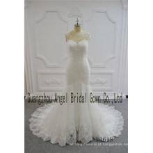 com Nude Net Lace Sereia Pequeno Trian Sexy Wedding Gown