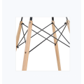 Mesa de comedor retangular de cristal templado y patas de madera