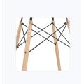 Tampo de vidro temperado e mesa de jantar retangular de pernas de madeira
