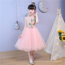 Pink Embroidery Beading Party Prom Flower Girl Dress