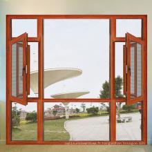 Fenêtre en aluminium de bois massif / bois de cerisier standard Moyen-Orient (FT-W108)
