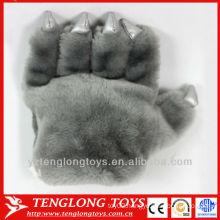 wholesale warm gray gloves plush bear paw gloves