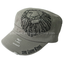 Grinding Washed Crystal Diamond Rhinestone Leisure Military Cap (TM1996)
