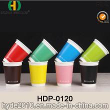 Bester Preis Doppelwand Heißer Kaffee Pappbecher mit Deckel (HDP-0120)