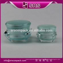 Alibaba China por atacado 5g15g 30g 50g frasco acrílico cosmético vazio, embalagem luxuosa de plástico de diamante de creme com tampa de camada dupla