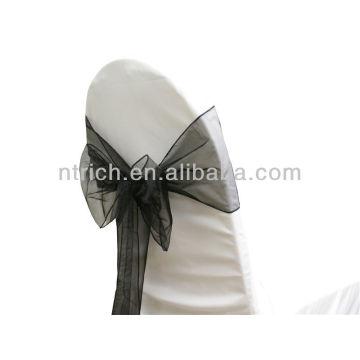 noir, vogue cristal organza sash lien de chaise dos, noeud papillon, noeud, couverture de chaise de mariage et nappe
