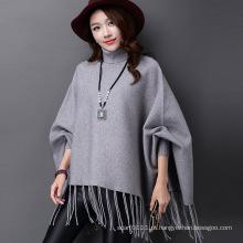 Senhora fashion tartaruga pescoço acrílico de malha com franjas de inverno poncho (yky4514)