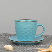 Colorful Glaze Embossed Ceramic Coffee Mug