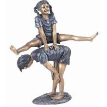 bronze deux enfants jouant la statue de saute-mouton à vendre