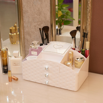 Plastic Lady Diamond Pattern Cosmetic Makeup Organizer