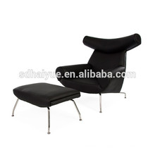 2017 Hot sales comfortable replica PU/ genuine leather hans J wegner OX lounge chair with ottoman