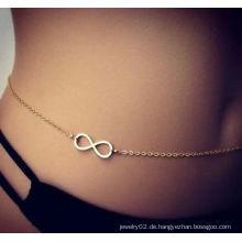 Gold Infinity Charme Bauchkette Strand Körper Schmuck Bikini Taille Kette