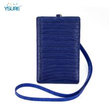 Portefeuille en cuir titulaire de la carte de crédit avec lanière de cou