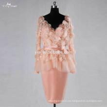 RSE728 manga larga de encaje blush rosa vestido de boda corto