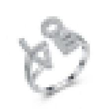 Mulheres 925 prata esterlina embutidos cz em forma de alfabeto anel