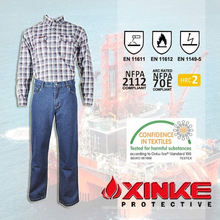 Ropa FR tratada con Pyrovatex para ropa de trabajo