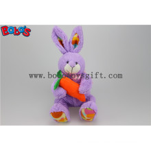 Easter Plush Bunny Toy Stuffed Purple Rabbit Animal Holding Orange Carrot Bos1158