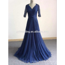 New Designs V-Neck Dark Blue A-line Floor-Length Tulle Skirt Pleated Long Sleeve Muslim Lace Evening Dress for Women GYFZS01